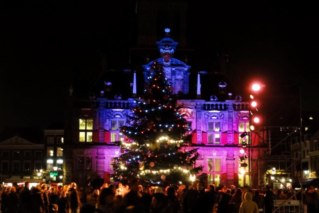 Kerstboom lichtjesavond Delft